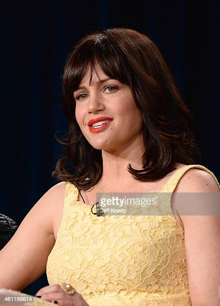 Actress Carla Gugino speaks onstage during 'The Brink' panel as part of the 2015 HBO Winter Television Critics Association press tour at the Langham...