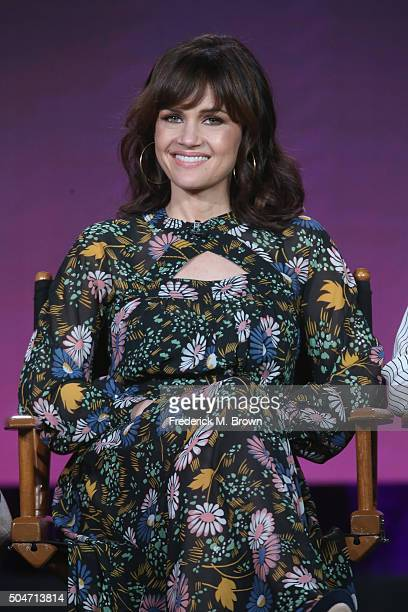 Actress Carla Gugino speaks onstage during the Roadies panel discussion at the CBS/ShowtimeTelevision Group portion of the 2015 Winter TCA Tour at...