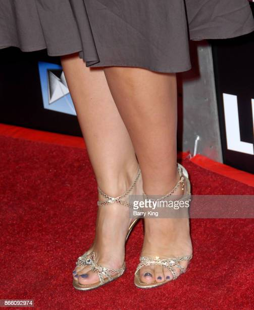 Actress Carlotta Montanari shoe detail attends the premiere of Electric Entertainment's 'LBJ' at ArcLight Hollywood on October 24 2017 in Hollywood...