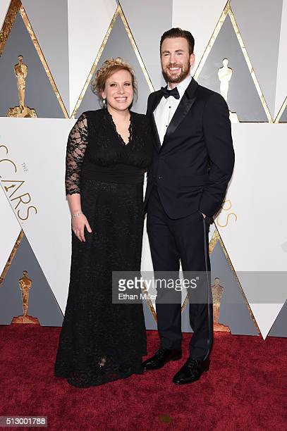 Actress Carly Evans and actor Chris Evans attend the 88th Annual Academy Awards at Hollywood Highland Center on February 28 2016 in Hollywood...