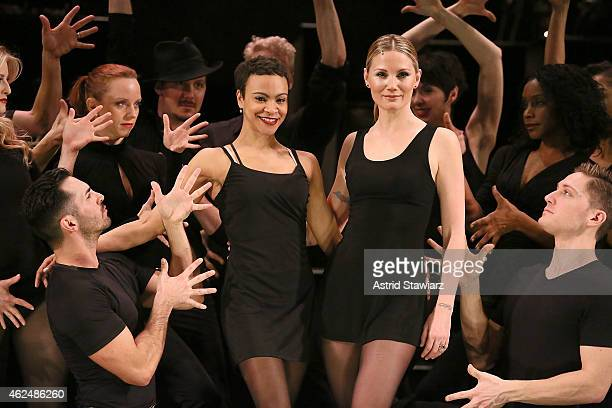 Actress Carly Hughes and singer Jennifer Nettles perform during a rehearsal for broadway's hit musical CHICAGO on January 29 2015 in New York City