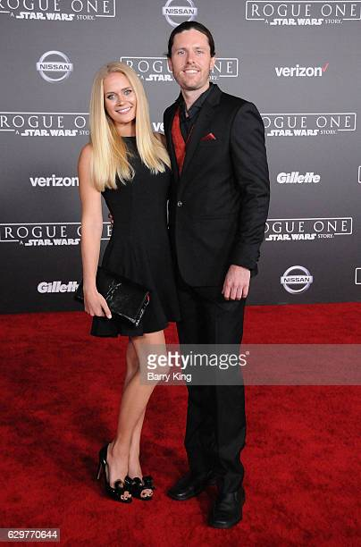 Actress Carly Schroeder and writer Jeremy La Zelle attend the premiere of Walt Disney Pictures and Lucasfilms' 'Rogue One A Star Wars Story' at the...