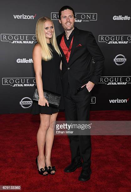 Actress Carly Schroeder and writer Jeremy Lazell attend the premiere of Walt Disney Pictures and Lucasfilm's 'Rogue One A Star Wars Story' at the...