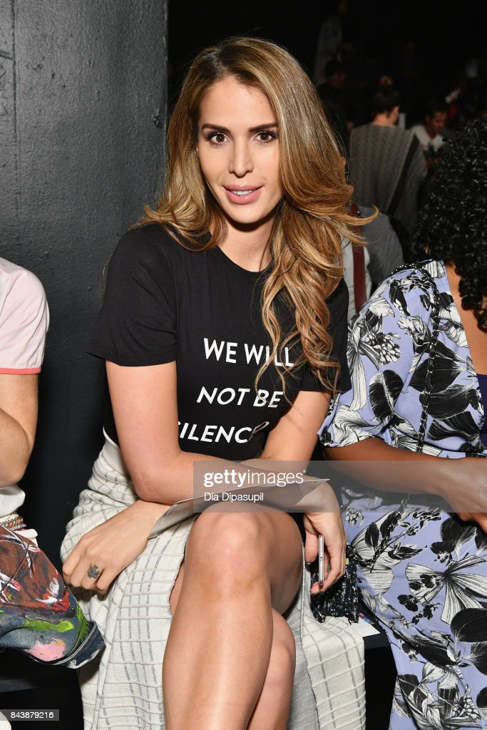 Actress Carmen Carrera attends the Tadashi Shoji fashion show during New York Fashion Week: The Shows at Gallery 1, Skylight Clarkson Sq on September 7, 2017 in New York City.