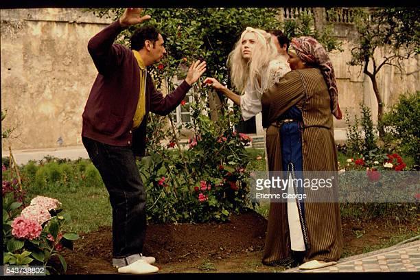 Actress Carmen Chaplin and x directed by Nicolas Klotz on the set of his film 'La Nuit sacrée' based on the Tahar Ben Jelloun novel of the same name