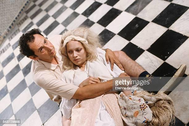 Actress Carmen Chaplin directed by Nicolas Klotz on the set of Klotz's film La Nuit sacree based on the Tahar Ben Jelloun novel by the same title