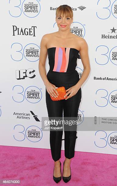 Actress Carmen Ejogo arrives at the 2015 Film Independent Spirit Awards on February 21 2015 in Santa Monica California