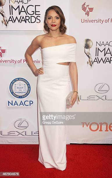 Actress Carmen Ejogo arrives at the 46th Annual NAACP Image Awards at the Pasadena Civic Auditorium on February 6 2015 in Pasadena California