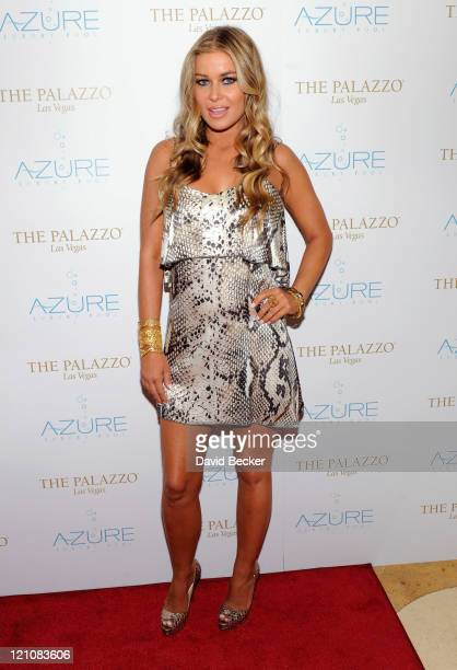 Actress Carmen Electra arrives to host the Azure pool at The Palazzo on August 13 2011 in Las Vegas Nevada