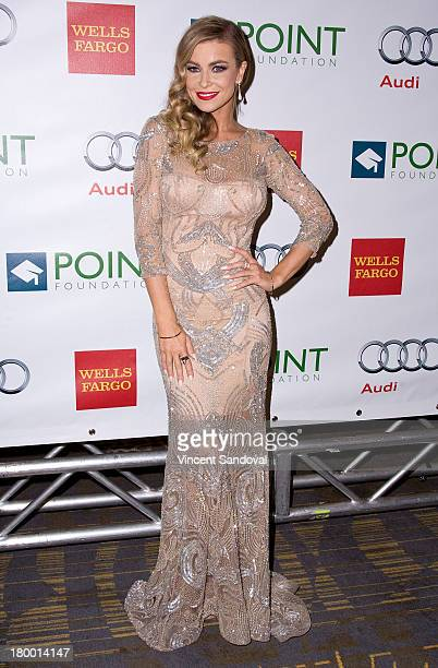 Actress Carmen Electra attends the Voices On Point musical gala benefiting the Point Foundation at the Hyatt Regency Century Plaza on September 7,...