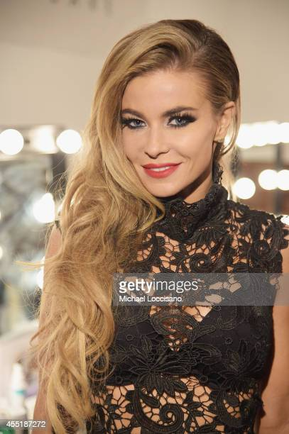 Actress Carmen Electra poses backstage during the Wantmylook by Lilly Ghalichi Style360 Spring 2015 fashion show at Metropolitan Pavilion on...