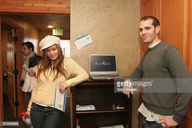 Actress Carmen Electra visits the ActorGearcom display at the Gibson Gift Lounge during the 2005 Sundance Film Festival on January 23 2005 in Park...