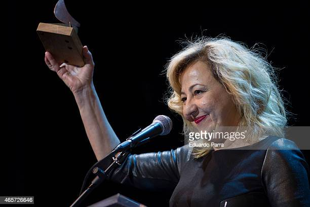 Actress Carmen Machi holds the award for Best supporting actress Award in the film 'Ocho apellidos vascos' during the 24th Union de actores Awards...