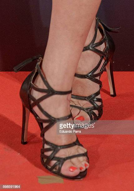 Actress Carmen Machi shoes detail attends the 'La puerta abierta' premiere at Palacio de la prensa cinema on September 1 2016 in Madrid Spain