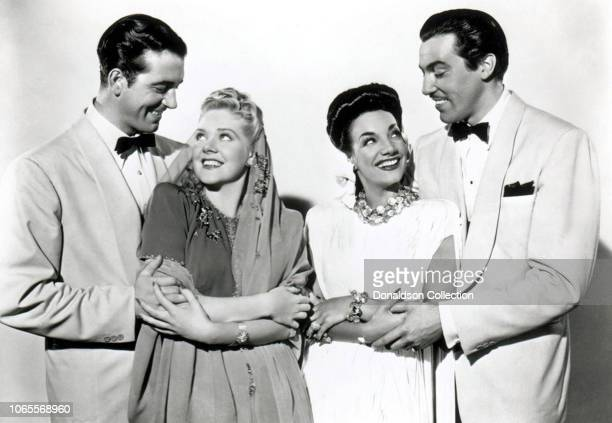 Actress Carmen Miranda Alice Faye John Payne and Cesar Romero in a scene from the movie WeekEnd in Havana
