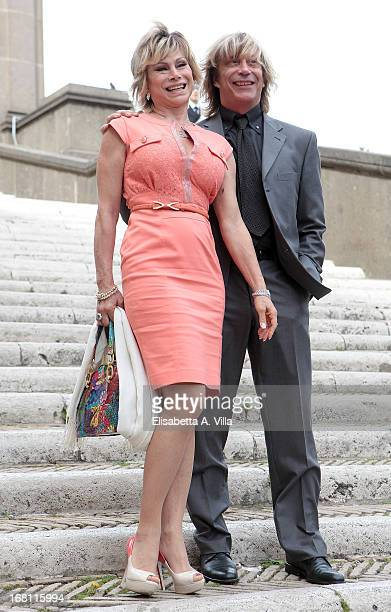 Actress Carmen Russo and husband Paolo Turchi arrive at the Valeria Marini And Giovanni Cottone wedding at Ara Coeli on May 5 2013 in Rome Italy