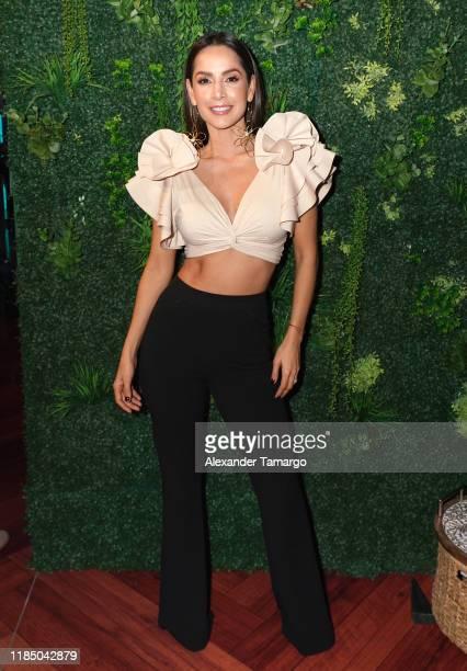 """Actress Carmen Villalobos is seen on the set of """"Un Nuevo Dia"""" at Telemundo Center on November 27, 2019 in Miami, Florida."""