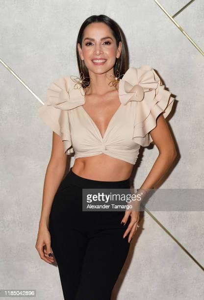 Actress Carmen Villalobos is seen on the set of Un Nuevo Dia at Telemundo Center on November 27 2019 in Miami Florida