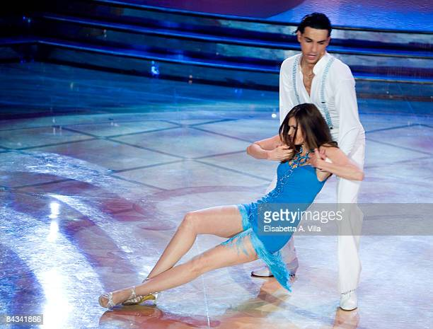 Actress Carol Alt and her dance partner Raimondo Todaro perform during the tv show 'Strictly Come Dancing' on January 17 2009 in Rome Italy