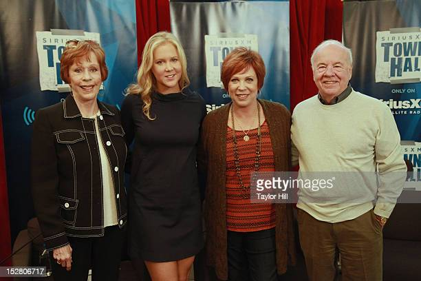 Actress Carol Burnett comedienne Amy Schumer actress Vicki Lawrence and actor Tim Conway attend 'SiriusXM's Town Hall with Carol Burnett' hosted by...