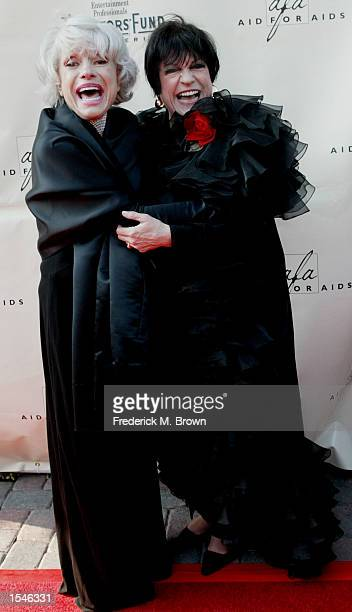 Actress Carol Channing and comedian/actress/host Jo Anne Worley attend the 2002 Tony Awards Party June 2 2002 in Los Angeles CA Channing was honored...