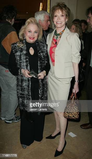 Actress Carol Connors and actress Mary Tyler Moore attend a tribute to Moore at the Beverly Hilton Hotel on March 16 2008 in Beverly Hills California