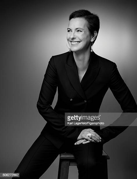 Actress Carole Bouquet is photographed for Madame Figaro on November 18, 2015 in Paris, France. Suit , jewelry personal. PUBLISHED IMAGE. CREDIT MUST...
