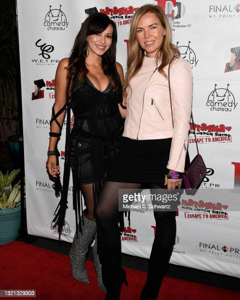 Actress Carolina De Athey and Producer Galina Antonova attend The Stained Red Carpet Comedy Fundraiser at The Comedy Chateau on May 29, 2021 in North...