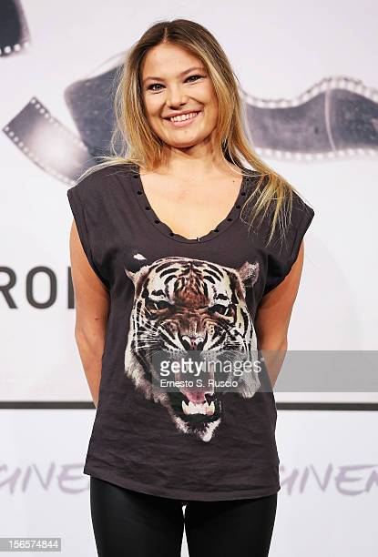 Actress Carolina Facchinetti attends the 'Razza Bastarda' photocall during the 7th Rome Film Festival at Auditorium Parco Della Musica on November 17...