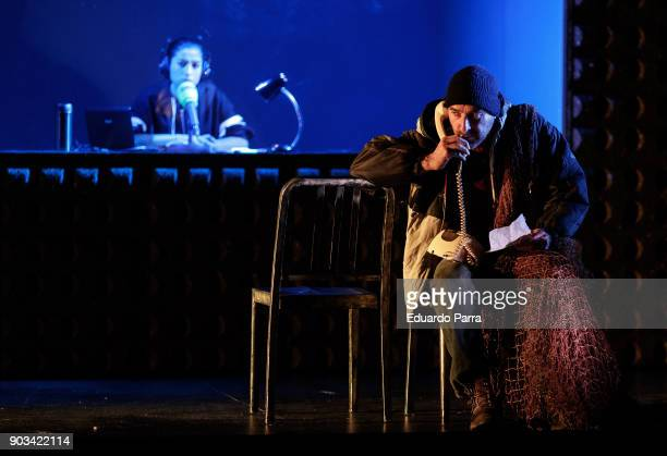 Actress Carolina Yuste and actor Antonio Gil attends the theatre rehearsal of 'Hablar por hablar' theatre play at Circulo de Bellas Artes on January...