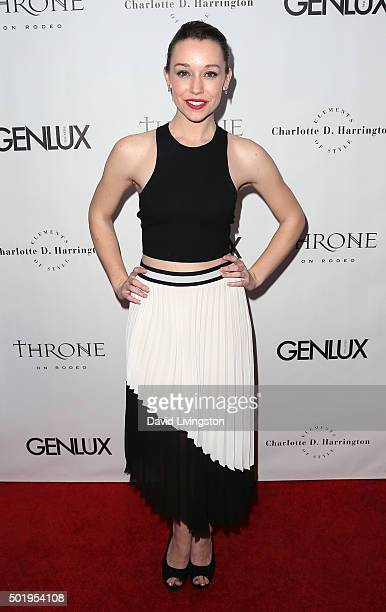 Actress Caroline Barry attends the GENLUX Magazine Beverly Johnson cover issue event at The Rodeo Collection on December 18 2015 in Beverly Hills...