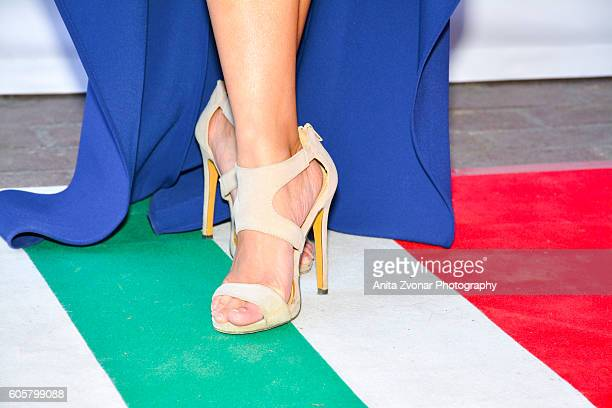 Actress Caroline Chan shoe detail attends the Assignment premiere during 2016 Toronto International Film Festival at Ryerson Theatre on September 14...