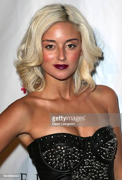 Actress Caroline D'Amore attends the Pieces opening night Los Angeles performance at The Fonda Theatre on March 28 2013 in Los Angeles California