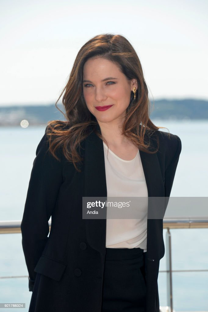 Actress Caroline Dhavernas posing for a photocall on the occasion of the MipTV, International Television Programme Market, in Cannes (south-eastern France) on .