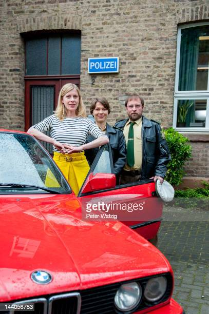 Actress Caroline Peters actress Meike Droste and actor Bjarne Maedel pose during 'Mord Mit Aussicht' Set Visit on May 09 2012 in Bornheim Germany