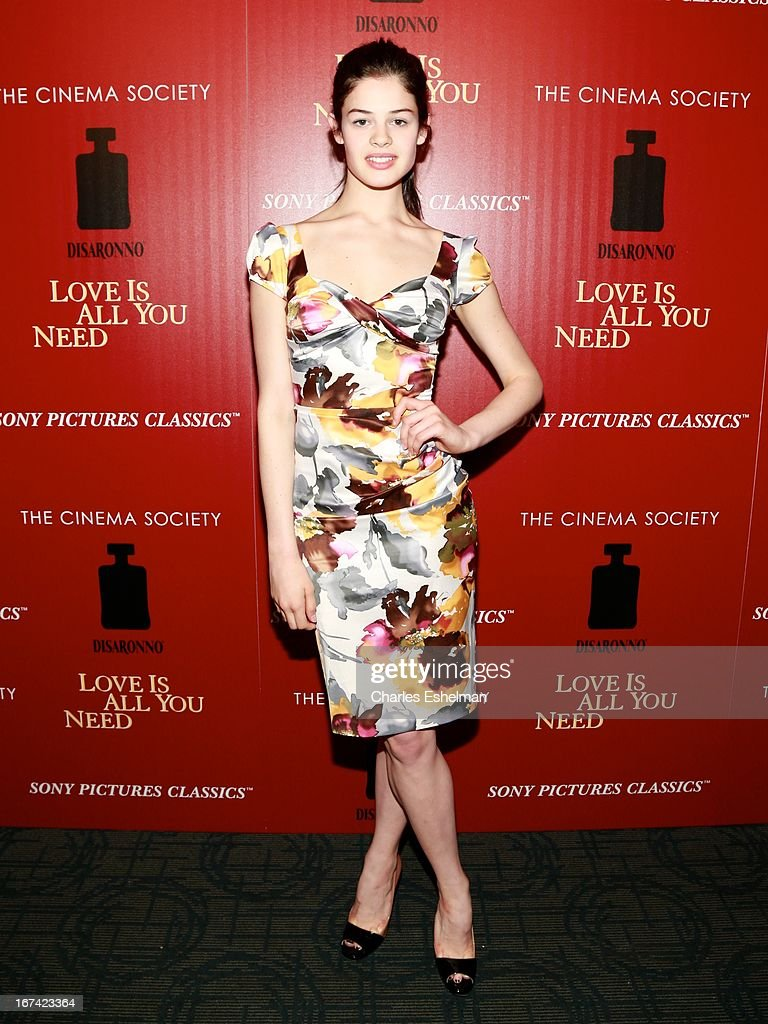 Actress Caroline Pires attends The Cinema Society & Disaronno screening of Sony Pictures Classics' 'Love Is All You Need' at Landmark Sunshine Cinema on April 24, 2013 in New York City.