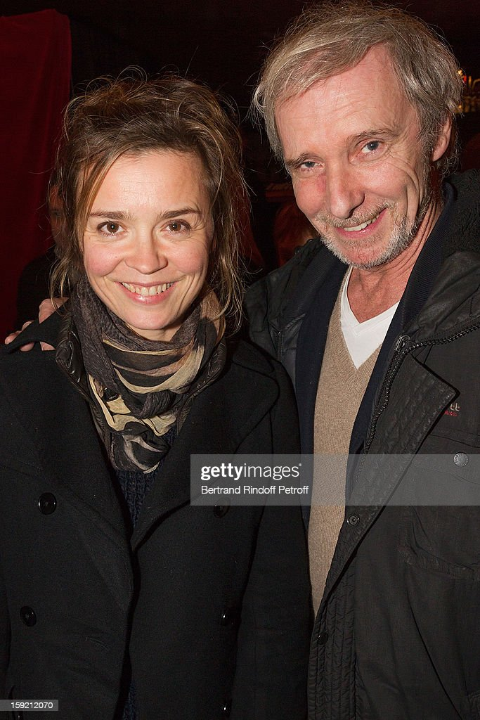 Actress Caroline Proust, of 'Engrenages' television series fame, and actor Geoffroy Thiebaut, of 'Braquo' television series fame, attend the 'Menelas rebetiko rapsodie' premiere at Le Grand Parquet on January 9, 2013 in Paris, France.