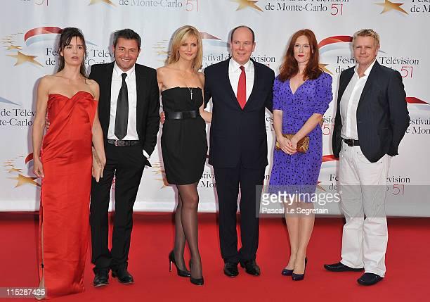 Actress Caroline Proust presenter Jerome Anthony TV presenter Sandrine Corman Pirnce Albert II of Monaco actors Audrey Fleurot and Xavier Deluc pose...