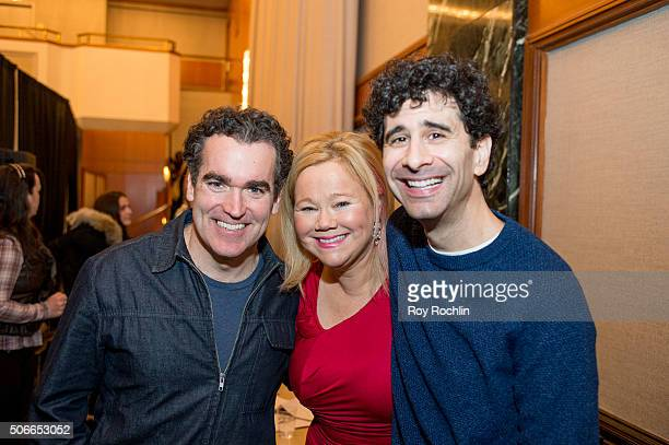 Actress Caroline Rhea with Brian d'Arcy James and John Cariani attend BroadwayCon 2016 at the New York Hilton Midtown on January 24, 2016 in New York...