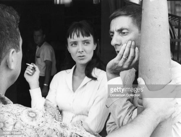 Actress Carolyn Jones and producer Aaron Spelling on the set of Zane Grey Theater on January 25, 1957 in Los Angeles, California.