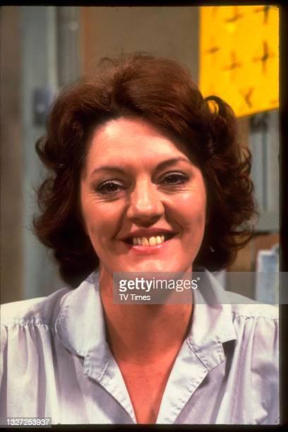 Actress Carolyn Jones in character as Sharon Metcalfe in television soap Crossroads, circa 1979.