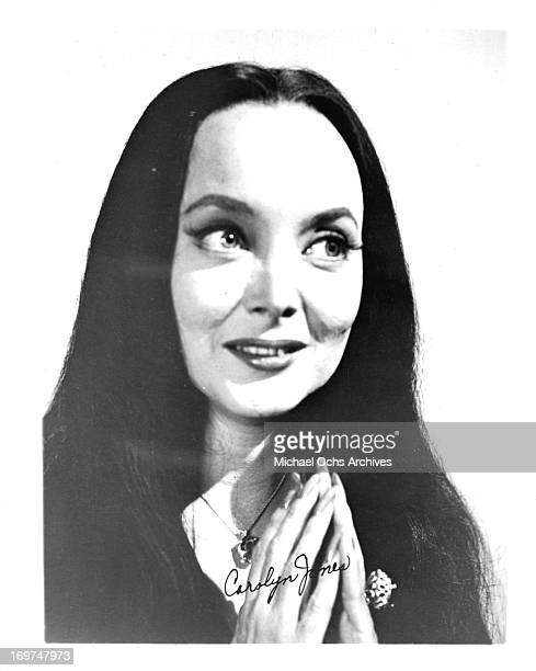 "Actress Carolyn Jones poses for a portrait as Morticia Frump Addams in "" The Addams Family"" in circa 1965."