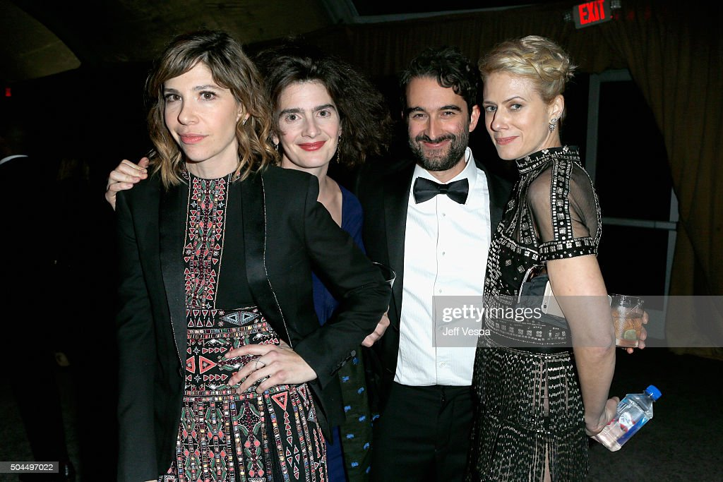 Actress Carrie Brownstein, actress Gaby Hoffmann, actor Jay Duplass and actress Sunrise Coigney attend The Weinstein Company and Netflix Golden Globe Party, presented with DeLeon Tequila, Laura Mercier, Lindt Chocolate, Marie Claire and Hearts On Fire at The Beverly Hilton Hotel on January 10, 2016 in Beverly Hills, California.