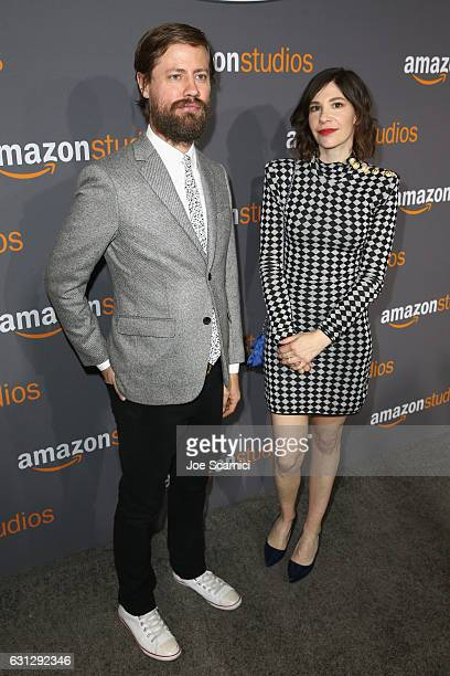 Actress Carrie Brownstein and guest attend Amazon Studios Golden Globes Celebration at The Beverly Hilton Hotel on January 8 2017 in Beverly Hills...