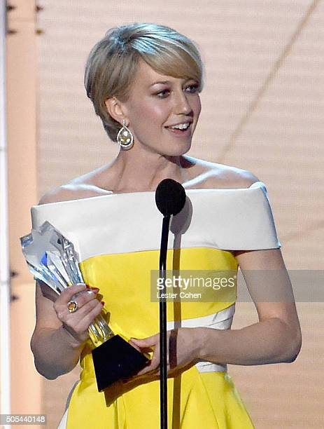 Actress Carrie Coon accepts the award for Best Actress in a Drama Series for The Leftovers onstage during the 21st Annual Critics' Choice Awards at...