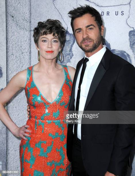 Actress Carrie Coon and actor Justin Theroux attend the premiere of HBO's 'The Leftovers' Season 3 at Avalon Hollywood on April 4 2017 in Los Angeles...