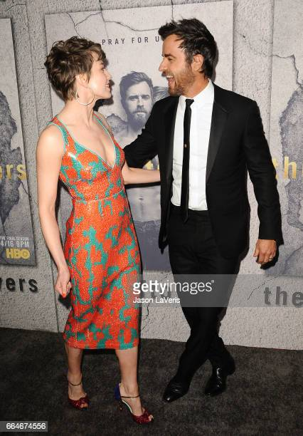 Actress Carrie Coon and actor Justin Theroux attend the season 3 premiere of The Leftovers at Avalon Hollywood on April 4 2017 in Los Angeles...