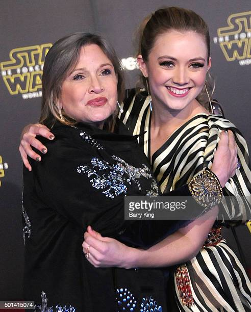 Actress Carrie Fisher and daughter actress Billie Lourd attend the Premiere of Walt Disney Pictures and Lucasfilm's 'Star Wars The Force Awakens' on...