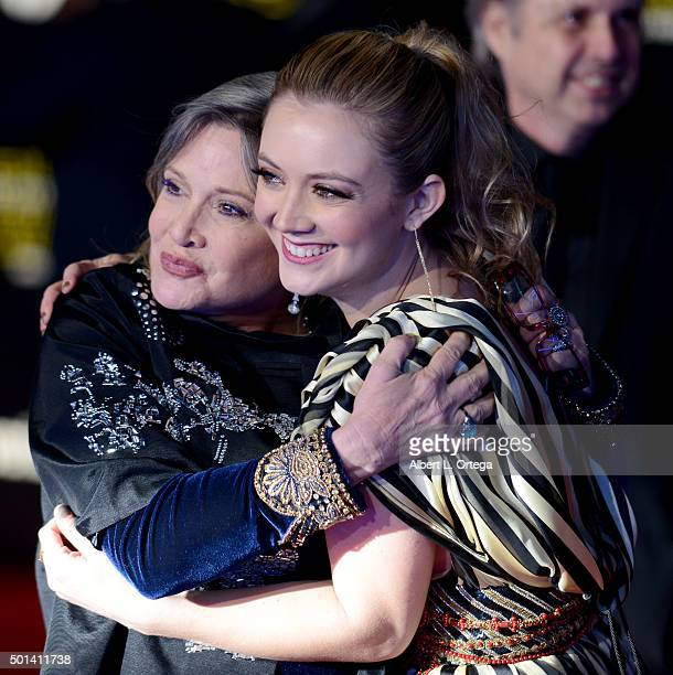 Actress Carrie Fisher and daughter/actress Billie Lourd arrive for the Premiere Of Walt Disney Pictures And Lucasfilm's Star Wars The Force Awakens...