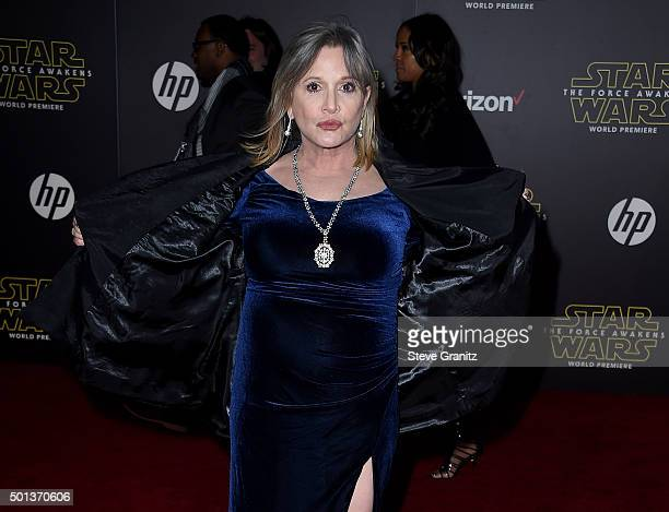 Actress Carrie Fisher arrives at the premiere of Walt Disney Pictures' and Lucasfilm's Star Wars The Force Awakens at the Dolby Theatre TCL Chinese...